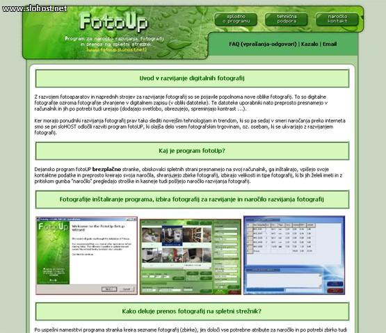 Program za narocanje razvijanja fotografij preko interneta fotoUp