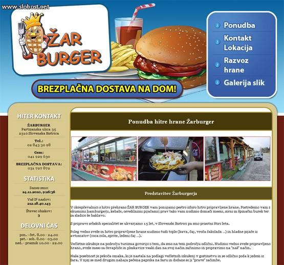 spletna stran zarburger hitra hrana