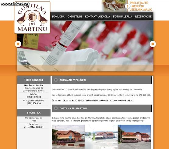 Gostilna pri Martinu izdelana spletna stran